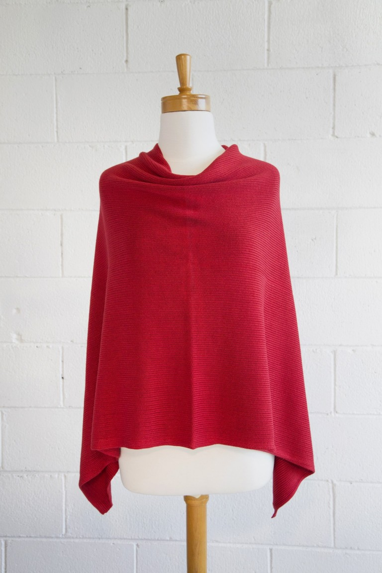 Red  Bamboo  side poncho